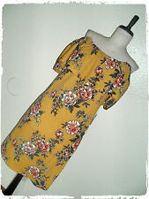 J For Justify Mustard Floral Textured Ruffled Off Shoulder Fit N Flare Dress 2X