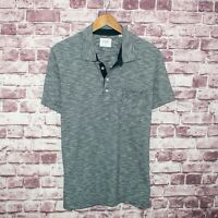 BILLY REID Men's Short Sleeve Polo Shirt Blue White Striped Size XL