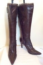 NINE WEST DARK BROWN LEATHER FAUX FUR TRIM BOOTS SIZE US 6 UK  3.5/36
