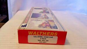 HO Scale Walthers U.S. Steel Coke Car 3 Pack Kit, BNOS #932-3091