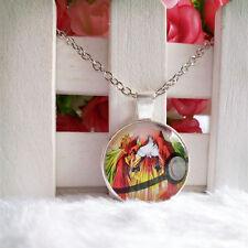 Ho-Oh Legendary Pokemon Pendant Tibet silver Cabochon Glass Chain Necklace