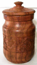 Carved Solid Wood Jar with Lid Unique Christmas Gift STAR Roses Flowers Unusual