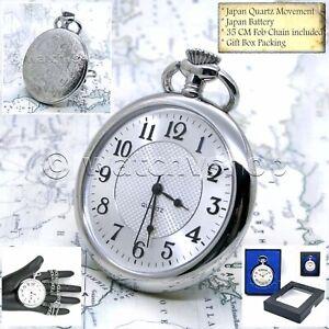 SILVER Antique Style BIG Size Men Fashion Pocket Watch Fob Chain Gift Box P205
