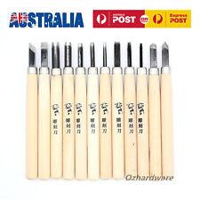 Wood Carving Chisels Set Diy Tool Steel Blades Solid Wooden Handles pack of 12
