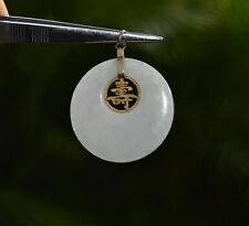 "Chinese Vintage JADE PI Pendant LONGEVITY Gold Filled approx 1 3/8"" diameter"