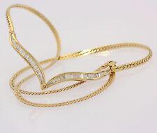 Collier in aus 585er 14 kt Gelb Gold mit Baguette Diamanten Hals Ketten Diamant