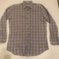 Peter Millar Mens Button Up Shirt Multicolor Purple Plaid Long Sleeve Cotton L