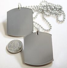 STAINLESS STEEL PENDANT 2 X LARGE  DOG TAG SOLID  STAINLESS STEEL MILITARY STYLE