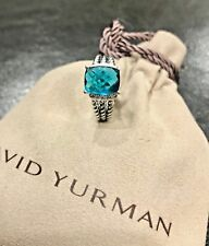 DAVID YURMAN RING PETITE WHEATON BLUE TOPAZ AND DIAMOND SIZE - 6