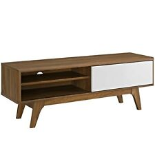 Modern Living Lounge Media TV Stand Console Table, Natural Wood, White, 13754
