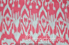 Indian Hand Block Print 10 Yard Pink ikat Sewing Material Craft Fabric Decor