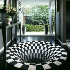3D Bottomless Cave Hole Shaggy Carpet Rug Home Living Room AntiSkid Floor Mat^