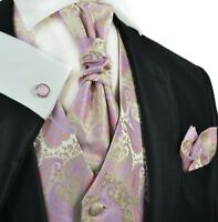 Cashmere Rose on Gold Paisley Tuxedo Vest, Tie and Accessories by Paul Malone