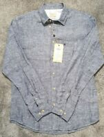 Selected Homme Heritage Navy Blazer 100% Linen Long Sleeve Men's Summer Shirt, S