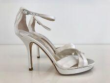 JIMMY CHOO LONDON MACY WHITE SILK SATIN WEDDING SHOES SIZE US 7.5