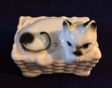 "Miniature White Genuine Bone China Cat in Basket Figurine 2 1/4"" Tall"