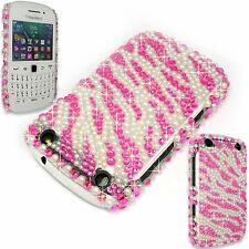 Flor Perla Diamante Brillo clara duro Funda para Blackberry Curve 9320