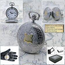 "Silver Antique Pocket Watch Quartz Men White Dial with 14"" Link Curb Chain P186"