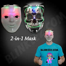 Light Up HALLOWEEN LED  Skeleton Skull Mask Halloween Costume Accessory FUN!