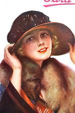 Para Ti Spanish Argentina 1920 Matted Art Cover LADY BIG HAT FOX FUR COLLAR