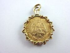 Estate Unique .900 Gold 1955 Cinco Pesos Coin in 14k Yellow Gold Bezel Pendant