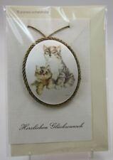 Rarität Glückwunschkarte / Seidenmedaillon Katzenpaar
