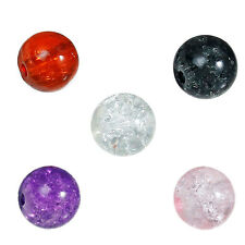 100 Crackle Glass Beads 8mm Mixed Colours Red Purple Clear Pink Black J05640xg