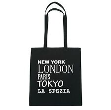 New York, London, Paris, Tokyo LA SPEZIA  - Jutebeutel Tasche - Farbe: schwarz