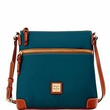 Dooney & Bourke Pebbled Leather Large Zip Crossbody Bag Handbag Teal Green