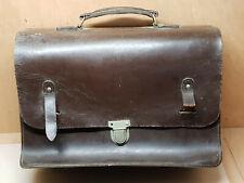 ancienne sacoche cartable cuir dur cheminot train conducteur controleur