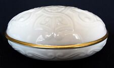 Lenox Celtic Style Oval / Egg Covered Trinket Box /Dish - Ivory/Cream / 24K Gold