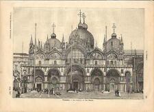 Stampa antica VENEZIA Basilica di San Marco 1891 Old antique print Venice