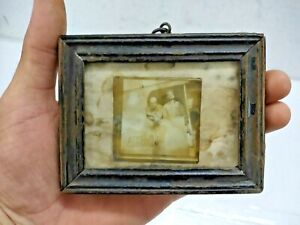 OLD VINTAGE RARE HANDMADE WOODEN SMALL PICTURE PHOTO FRAME WITH GLASS