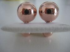DOBLE Pendientes de presión con bola 9 Quilates Oro Rosa
