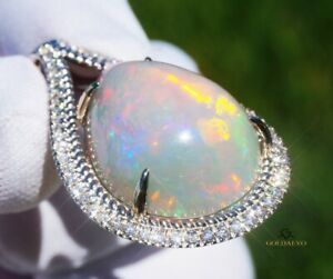 Opal Pendant Diamond White Gold 14K Natural GIA Certified 25.54CTW RETAIL $17800