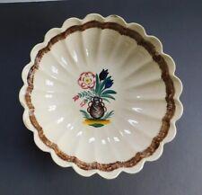 """HB Quimper Large Antique Vintage Scalloped Bowl 13"""" France"""