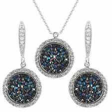 Azul Crystals de Swarovski Element 14K Plata Solitario Gotas Collar Aretes Set