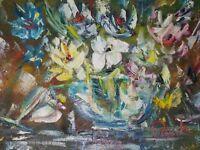 """Spring Floral"" impressionistic impasto palette knife oil painting, 9""x12"""