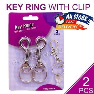 2pcs Key Rings Lobster Clasp Clips Swivel Keychain Snap Clip Key Fob Hook AU