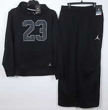 NIKE JORDAN THERMA-FIT WARM UP SUIT HOODIE + PANTS BLACK GREY NWT (SIZE LARGE)