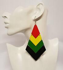 Large Dangle Earrings Hand Painted Wood Rasta Jamaican Flag Womens UK
