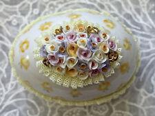 Vintage Irish Dresden Porcelain Spring Yellow Lace Flowers Easter Egg Figurine