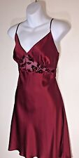 Valerie Stevens Nightgown size L Silk Ruby Red Short Spaghetti Strap Sheer