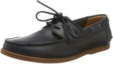 Clarks Men's Lace Up Boat Shoes 'Morven Sail' Navy Leather UK Size 7 /41