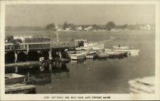 Cape Porpoise Me Cottages and Boat Dock Real Photo Postcard