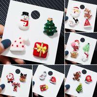 3PCS/Set Christmas Santa Claus Snowman Resin Brooch Pin Collar Badge Xmas Party