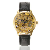WINNER Men Fashion Mechanical Hand Wind Movement Watches Luxury Leather