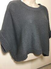 Organic John Patrick NWT $276 Gray Cropped Open Knit Short Sleeve Sweater Sz M