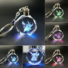 Pokemon Go Pikachu Happy Jump Crystal Key Chain Ring LED Light Up Glow Pendant