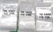 "300 Ziplock RECLOSABLE BAGS 3x5 CLEAR 2MIL POLY ZIP LOCK PLASTIC BAGS 3"" x 5"""